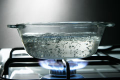 Glass saucepan Stock Photography