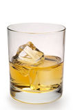 Glass of scotch isolated. Glass of scotch and ice vertical with clipping path Stock Photography