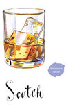 Glass of scotch whiskey brandy with ice cubes. Hand drawn - watercolor vector Illustration royalty free illustration
