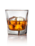 Glass of scotch whiskey and ice Stock Photo