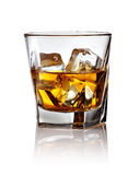 Glass of scotch whiskey and ice Stock Image