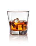 Glass of scotch whiskey and ice Royalty Free Stock Photo