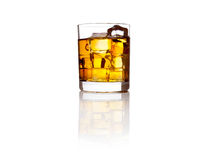 Glass of scotch whisky and ice on white Royalty Free Stock Images