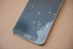 Glass screen mobile phone is broken Royalty Free Stock Images