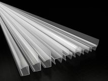Glass Sealing Profiles. 3D render of a set of glass sealing profiles vector illustration