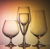 Glass. A set of fine glasses for a variety of drinks Stock Image