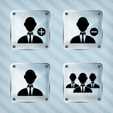 Glass set icon of businessman Royalty Free Stock Photos