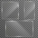 Glass set plates frame. Isolated on transparent background. vector illustration