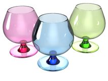 Glass set render in pink, blue and green Stock Image