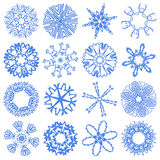 Glass set snowflakes. Glass set of simulated snowflakes (16 pieces) - on a black background Royalty Free Stock Photo