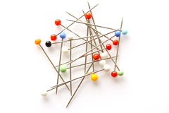 Glass sewing pins Stock Images