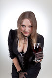 glass sexig winekvinna Arkivfoton