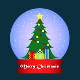 Glass sfär med snö och ett träd för nytt år med gåvor royaltyfri illustrationer