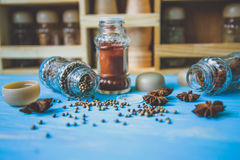 Glass shakers with seasoning Royalty Free Stock Image