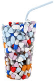 Glass shape assembled of drugs and pills Stock Images
