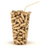 Glass shape assembled of peanuts with straw Stock Photo