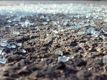 Glass shards Scattered On The Road - Close Up. Picture taken in haifa area royalty free stock image