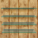 Glass shelves on wooden planks Royalty Free Stock Photo