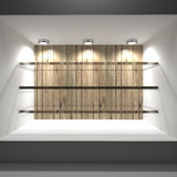 Glass shelves wooden Royalty Free Stock Photo