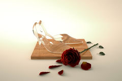 Glass shoes with rose Stock Photo
