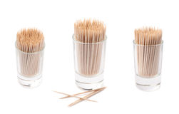 Glass shot filled with the toothpicks isolated Stock Image