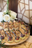 Glass shots canapés. Assorted glass shots canapés Royalty Free Stock Images
