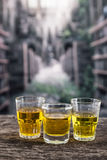 Glass shots with yellow liqour resembling whiskey Royalty Free Stock Photo