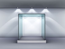 Glass showcase in the gallery Royalty Free Stock Images