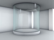 Glass showcase in the gallery Stock Photos