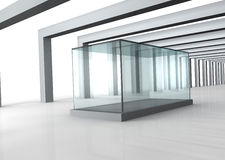 Glass showcase in grey room with columns Stock Photo