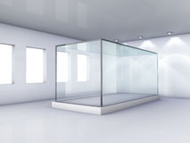 Glass showcase in grey room with windows Stock Photography