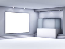 Glass showcase and lightbox with spotlights Royalty Free Stock Images