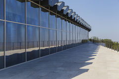 Glass showcase in a modern building Stock Photos
