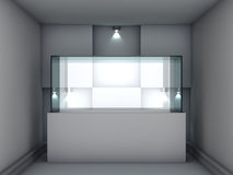 Glass showcase and niche with spotlights Royalty Free Stock Photography