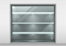 Glass showcase with shelves royalty free illustration