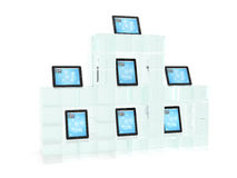 Glass showcase with tablet pc Royalty Free Stock Image