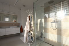 Glass shower. Shower with glass walls with bright elegant bathroom Stock Photography