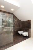 Glass shower in bathroom Stock Photos