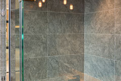 Glass Shower box. In a loft style bathroom stock image