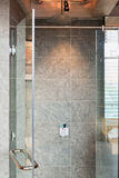 Glass Shower box. In a loft style bathroom stock images