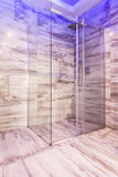 Glass shower stall in marble bathroom Royalty Free Stock Image