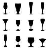 Glass silhouette set. Vector set of black glass Stock Photo