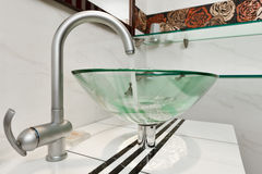 Glass sink bowl in modern bathroom Stock Photo