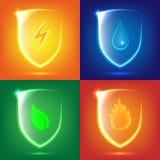 Glass sköldsymbolsuppsättning stock illustrationer