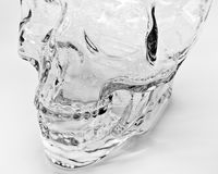 Glass Skull Head. Artistic black and white picture of a glass skull head Royalty Free Stock Image