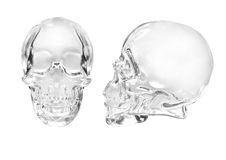 Glass skull. On a white background royalty free stock photos