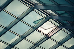 Glass skylight roof with open window Stock Photography