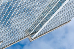 Glass skyscraper building against sky background square illustration.  Royalty Free Stock Photos