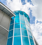 Glass skyscraper. Perspective view with blue sky Royalty Free Stock Photo