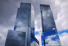 Glass skyscraper towers in New York City Stock Photo